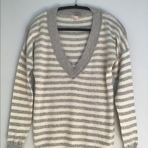 Forever 21 Striped Grey Deep V neck Sweater M